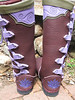 This is a pair of redwood buffalo boots, with lavendar button trim and tabs, and a redwood heel with a purple deerskin lotus flower appliqued on. <br /> Funny note - I had never done this color combo before, and then had two orders in two weeks for the same colors!