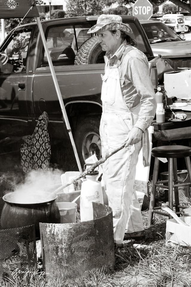 Making Lye soap.