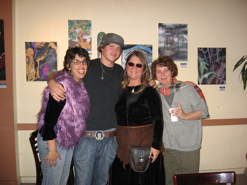 Cassidy calls this photo 'a picture of me with all my Mama's'.  We love you too, Cass!<br /> The photo was taken at Has Beans Coffee Shop in Chico, at Cassidy's art opening.  Some of his work is on the wall behind us.