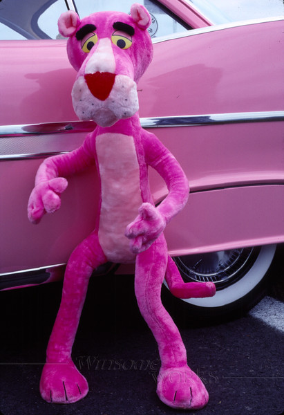 1959 Pink Plymouth Fury side view with The Pink Panther classic car show