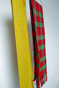 Woven scarves made by Guild members