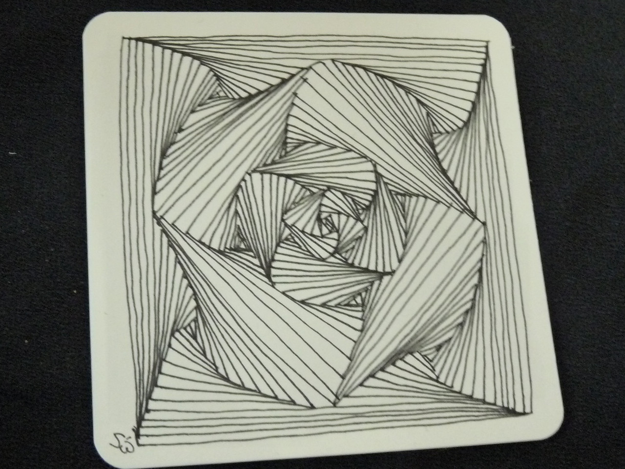 this complicated-looking tile is made of numerous Paradox Tangles, which are all composed of straight lines (it's true!)