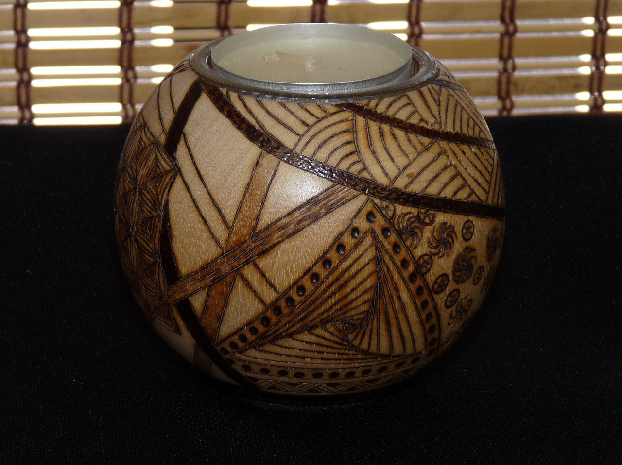 Nice!  Woodburned candle holder