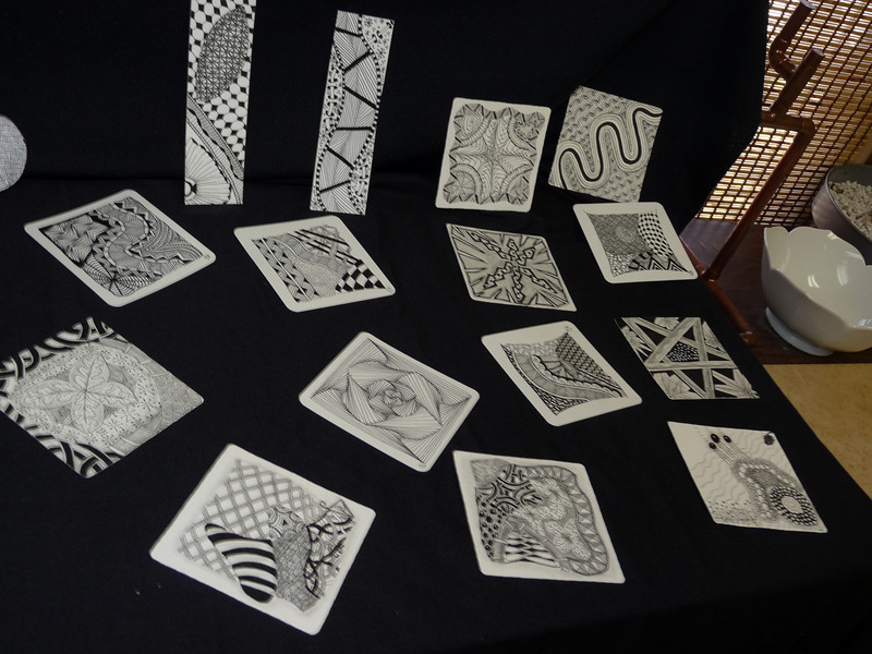 "some samples of tiles and bookmarks  <br /> (the little Zentangle cards are called ""tiles"")"
