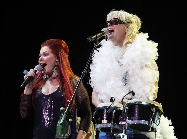 Kate Pierson (left) and Cindy Wilson of the band the B-52s perform at the Cisco Ottawa Bluesfest on Thursday, July 8, 2010. The Ottawa Bluesfest is ranked as one of the most successful music events in North America. The Canadian Press Images PHOTO/Ottawa Bluesfest/Patrick Doyle.
