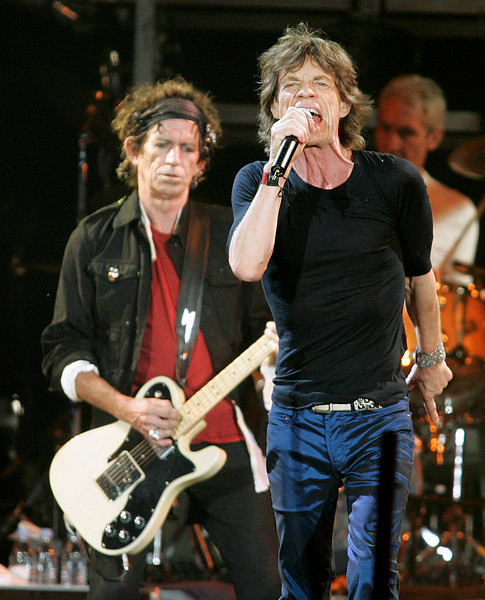 Keith Richards (L), Mick Jagger (R) and The Rolling Stones perform in Ottawa, August 28, 2005. Photo by Patrick Doyle.