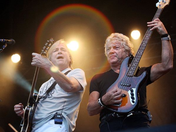 Justin Hayward (left) and John Lodge of the band The Moody Blues perform at the Cisco Ottawa Bluesfest on Thursday, July 8, 2010. The Ottawa Bluesfest is ranked as one of the most successful music events in North America. The Canadian Press Images PHOTO/Ottawa Bluesfest/Patrick Doyle.