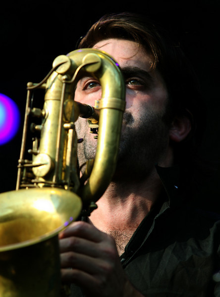 Jared Tankel plays the Baritone Saxophone with The Budos Band at the Cisco Ottawa Bluesfest on Friday, July 16, 2010. The Ottawa Bluesfest is ranked as one of the most successful music events in North America. The Canadian Press Images PHOTO/Ottawa Bluesfest/Patrick Doyle.