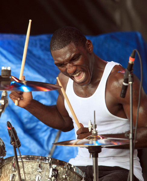 Drummer Cedric Burnside performs at the Cisco Ottawa Bluesfest on Saturday, July 11, 2009. The Ottawa Bluesfest is ranked as one of the most successful music events in North America. Patrick Doyle/Ottawa BluesFest/The Canadian Press Images.