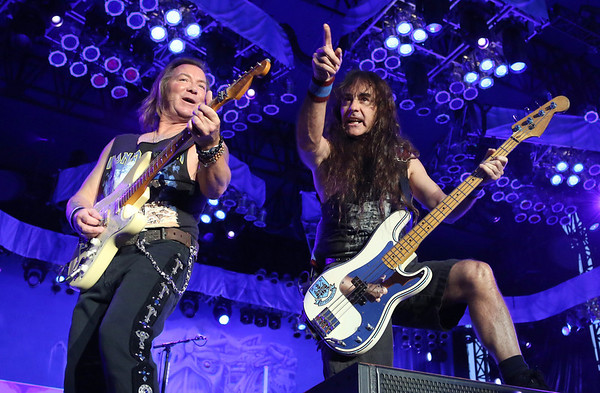 Dave Murray (L) and Steve Harris of the band Iron Maiden are seen here performing at the RBC Royal Bank Bluesfest in Ottawa on Saturday, July 7, 2012. The Ottawa Bluesfest is ranked as one of the most successful music events in North America. The Canadian Press Images PHOTO/Ottawa Bluesfest/Patrick Doyle.