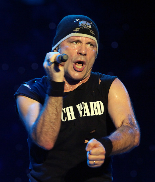 Lead singer, Bruce Dickinson, of the band Iron Maiden performs at the Cisco Ottawa Bluesfest on Tuesday, July 6, 2010. The Ottawa Bluesfest is ranked as one of the most successful music events in North America. The Canadian Press Images PHOTO/Ottawa Bluesfest/Patrick Doyle.