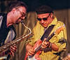 Tony D (R) with Zeke Gross on sax at the Bluesfest. Photo by Patrick Doyle.