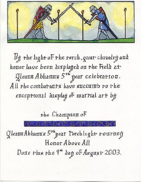 Gleann Abhann 5th year event- scroll for torchlight tourney 8/9/03