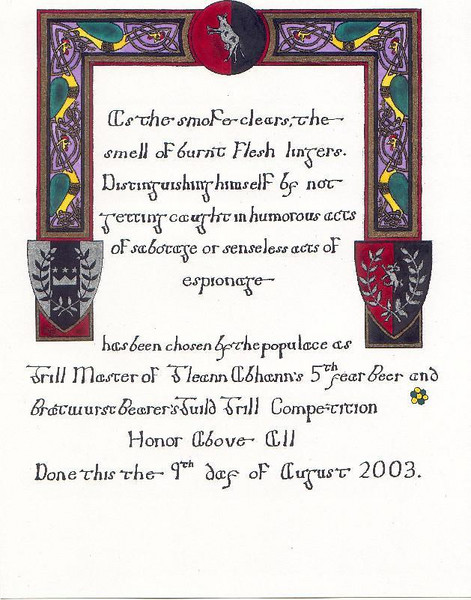Gleann Abhann 5th year event- scroll of grilling competeion 8/9/03