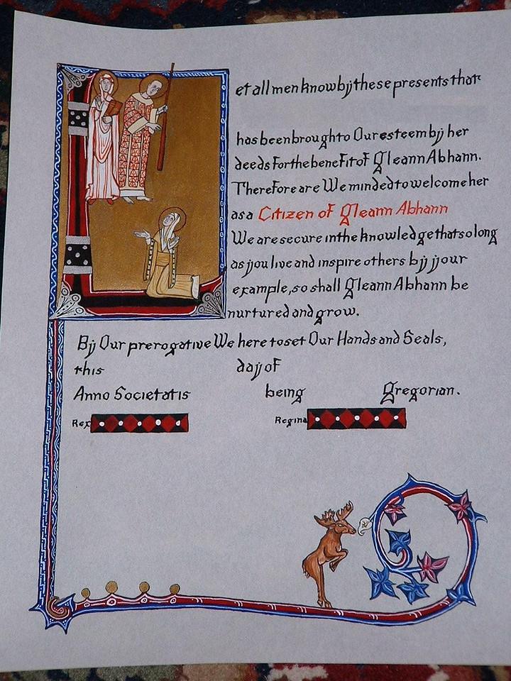 Gleann Abhann Citizen- special award meant for the first Coronation.
