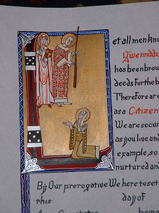 Gleann Abhann Citizen- close up of initial letter