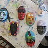 Local teens and young adults in Marney Schorr's Arts in Recovery for Youth studio program created this group of masks. They represent how students see themselves as warriors, putting their strongest face forward.