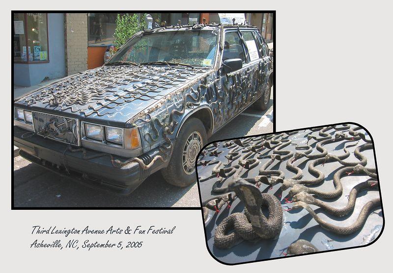 Snake car [inset closeup image, borders, text]