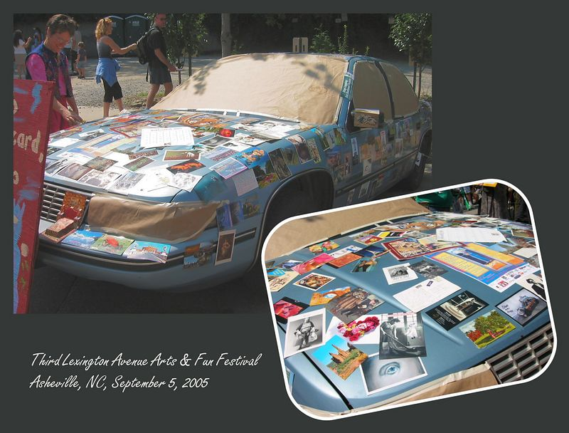 Postcard car [inset closeup picture, borders, text]