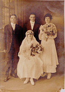 Circa: 1919, Wedding Day. Art Harwig Sr.(left), Sylvia Harwig sitting.
