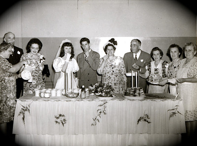 L to R: Back row, Charlie Rausch, Thelma Rausch(Dodie's adoptive parents), Dodie, Art, Sylvia Harwig, Art Harwig Sr. and 3 unknown ladies
