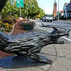 The metal statues are back on Main Street to promote the Artsmith Festiva that will be held October 8, 2016 at 10 a.m. to 5 p.m. at Fitchburg Riverfront Park on Boulder Drive. The rain date is October 9, 2016. This dragon sits next tothe boulder on on the upper common. SENTINEL & ENTERPRISE/JOHN LOVE