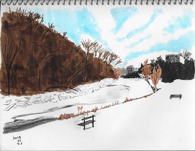 Winter Riverbank Scene
