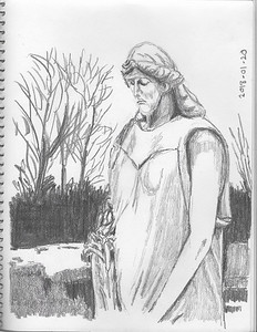 The Stone Mourner (30-min woodless pencil sketch)