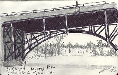 Under the Humber River Bridge In WInter