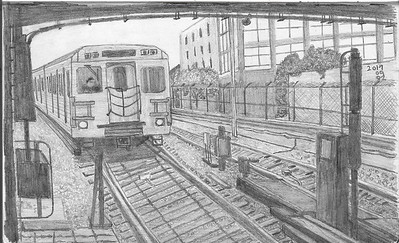 Subway Arriving At Keele Station