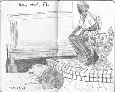 A Man and His Dog At Blue Heaven, Key West (30-minute sketch)