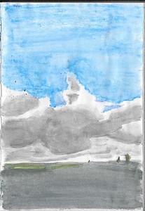 Watercolour Pencil Cloudscape