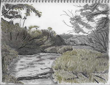 Riverside Scene in Tinted Charcoal