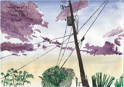 Florida Sunset Watercolour