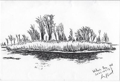 Bare Trees, Weller's Bay Channel (Plein-Air)
