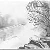 Foggy Riverbank Scene