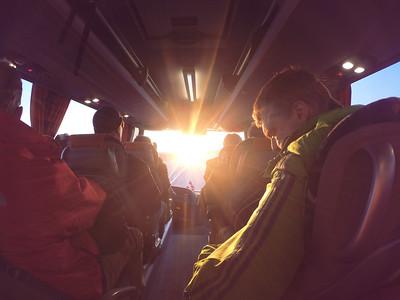 Sunrise Bus Ride Into Reykjavík