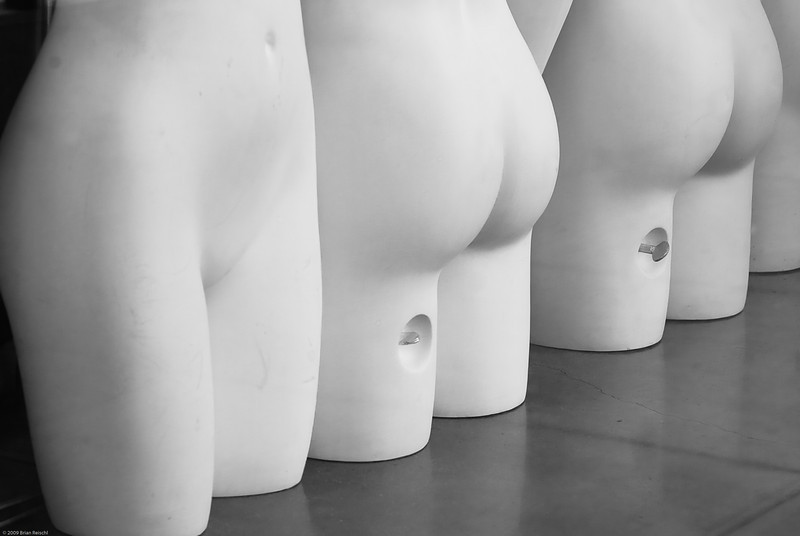 Naked mannequins shamelessly flaunt their anatomical incorrectness.