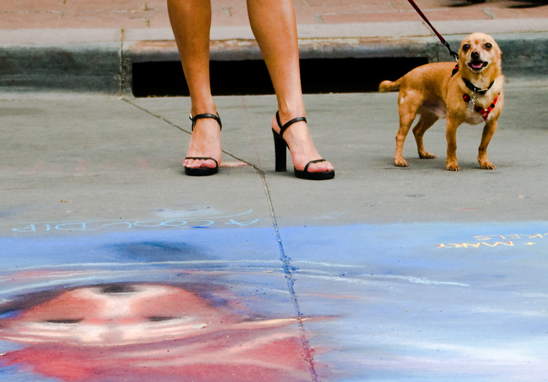 """I like the """"uppity lady with a yappy dog"""" stereotype here. Also that opposite corners of the frame both have a dog in them."""
