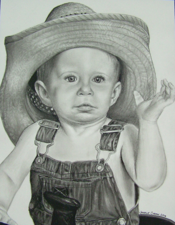 "Pencil/Charcoal<br /> 11"" x 14"" Framed as a 16"" x 20""<br /> sold to a private collector"
