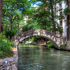 Bridge crossing the River Walk downtown San Antonio.
