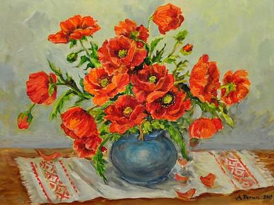 Title: Red Poppies    Art Medium: Acrylic painting on Panel  Artist: © Anna Perun