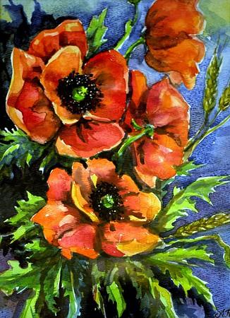 Title: Bringing Poppies Home  Art Medium: Watercolor Painting  Artist: © Anna Perun