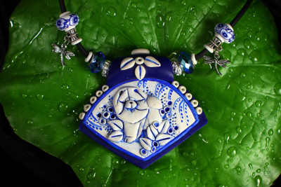 BLUE WILLOW Faux porcelain necklace $145.00