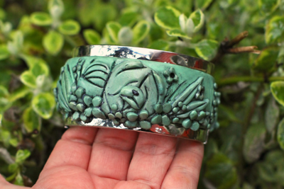 JADE IMPRESSIONIST  (back side) Faux Jade handsculpted hinged cuff bracelet  195.00