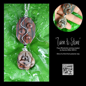 "TURN TO STONE- Faux Rhodonite and real petrified wood necklace  This is one of my Faux Rhodonite chow designs utilizing  a gorgeous nugget of polished petrified wood in the suspension system.    The Wee chow was hand sculpted from the last piece of my small clay slab I created to mimic the gemstone Rhodonite...see photo of raw stone above.    I hinged and wire wrapped this adorable nugget of a pup to the petrified wood and added faux rhodonite raised areas to the surface for a bit of added texture.    This design is so versatile, smaller in size, and easy to wear!      TOTAL PENDANT MEASURES 3"" long   Chow is 1"" wide     Pewter tone chain is fully adjustable to 24"""