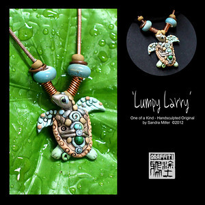 "LUMPY LARRY TURTLE NECKLACE  Oh that Larry...he is such a character with his lumpy bumpy shell embedded with genuine turquoise beads.   Look at that worried face!!!  He thinks his friends will tease him because of his funky shell, so he needs someone like YOU to wear him with pride to give him confidence that being one of a kind is a virtue...not a flaw!!  PENDANT MEASURES  2  x 1 3/4""    High quality caprice snake chain is adjustable from 16-20"" long  Beads may be changed or removed by unscrewing end"