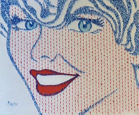 "Populus, walking a thin blue line-Alan, 52""x62"" on canvas (AEDJC17-9-)"