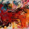 """Phoenix"" <br /> acrylic, ink, & pouring medium on canvas<br /> 11"" x 14"""