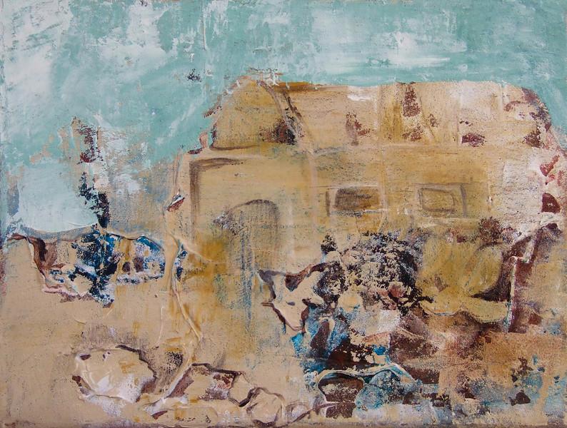 """Hill House""<br /> acrylic & mixed media on canvas<br /> 9"" x 11"""